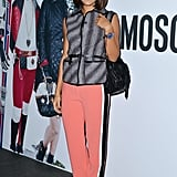 Margherita Missoni tempered peachy trousers with a Fall-feeling gray vest at the Juergen Teller dinner in Milan.