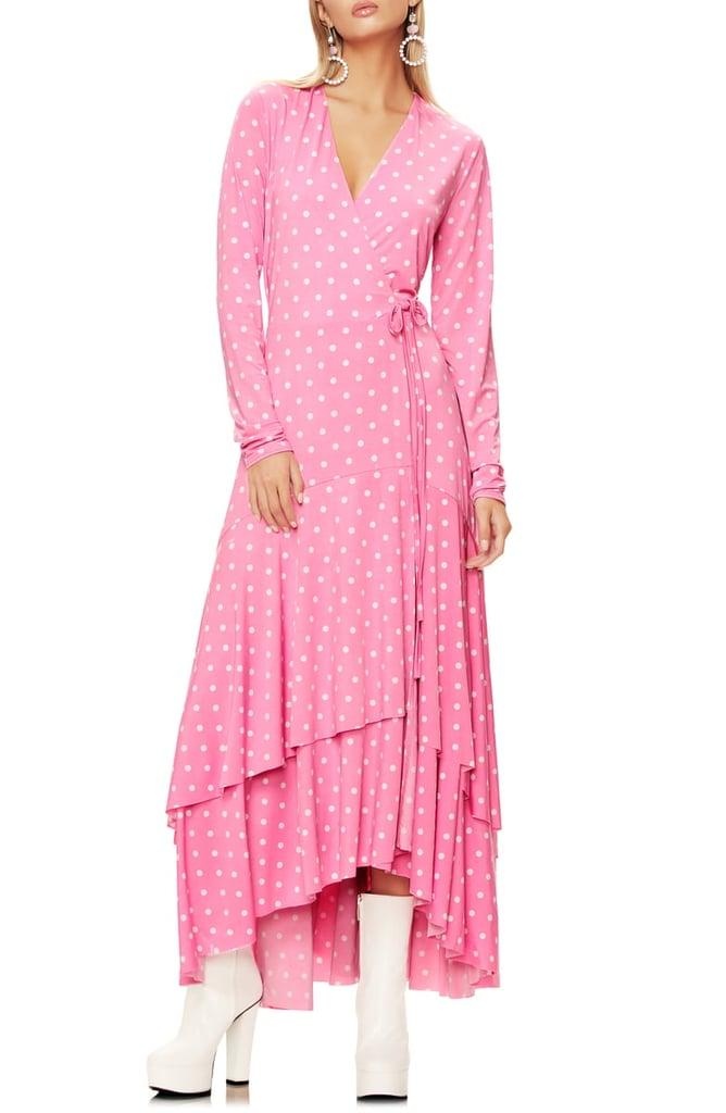AFRM Elodie Ruffle Hem Long-Sleeve Wrap High/Low Dress