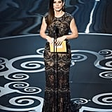 Sandra Bullock presented the award for best film editing.