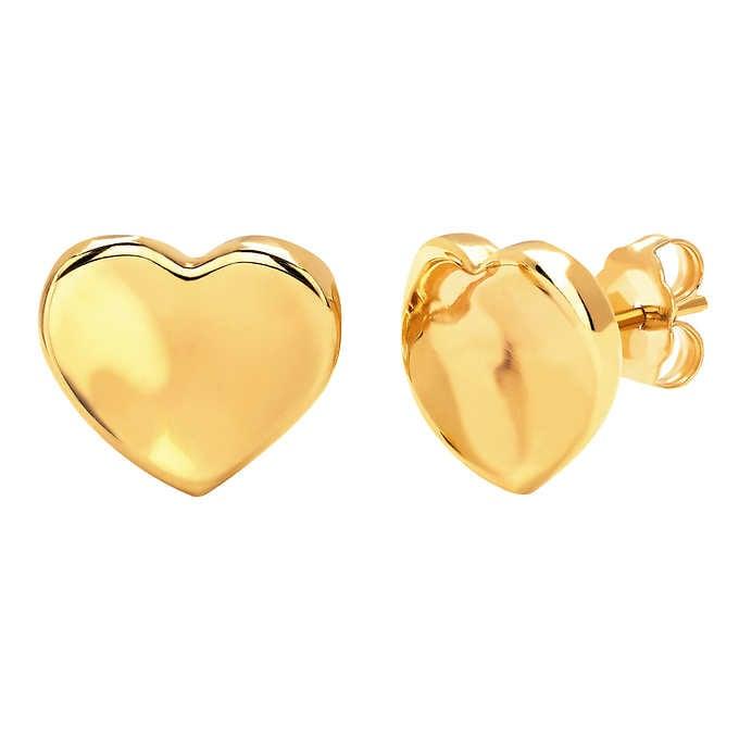 14kt Yellow Gold Heart Stud Earrings