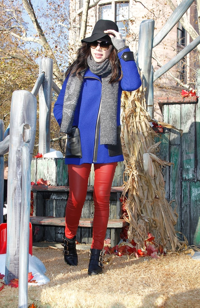 Carly Rae Jepsen kept warm at the Macy's Thanksgiving Day Parade.