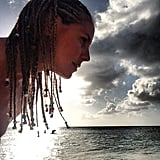That sunset isn't the only thing we're focused on in this Instagram snap. While vacationing in the Bahamas, Heidi had a Bo Derek moment, donning this beaded and cornrowed hairstyle.  Source: Instagram user heidiklum