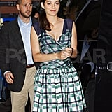 Marion Cotillard wears plaid to The Daily Show.