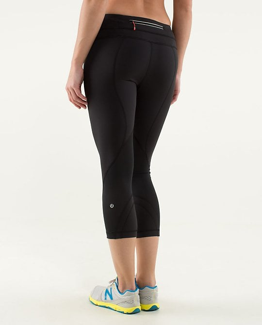 """With a new CEO at its helm, I decided to give Lululemon another shot. When I finally tried on the Run Inspire Leggings, it was as if someone read my mind: everything I had ever wanted in a workout capri was there. The leggings have the perfect amount of sheen without falling into the territory of disco-ready spandex, and they feel soft against the skin. And even during the sweatiest workouts (SoulCycle, anyone?!), the material keeps me dry. It also keeps me covered —you'll be happy to know that Lululemon has revamped its material to avoid any see-through issues at the gym. Best of all is the """"block-it pocket,"""" which promises to keep everything dry. Gone are days of going on a run and sheepishly handing my soggy money over to a store clerk while he looks at me in disgust. Postrecovery chocolate milk can now be bought without any guilt — and with completely bone-dry dollar bills!"""
