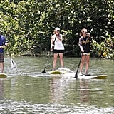 Julia Roberts paddleboarded with friends.
