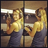 Jessica Alba hit the gun range. Source: Instagram user jessicaalba