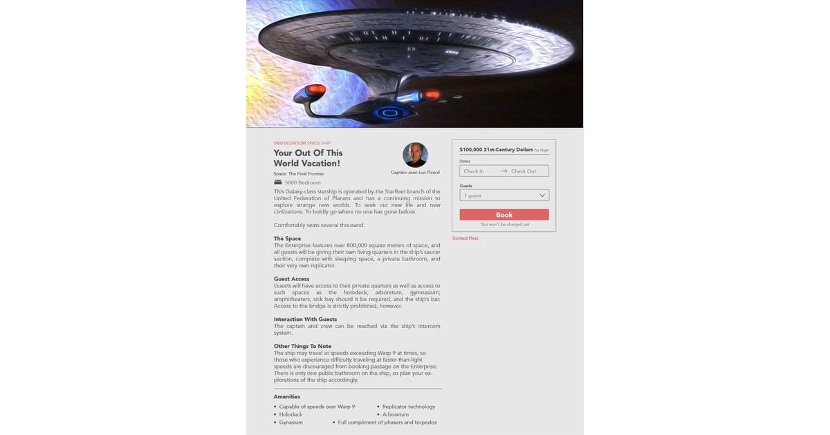 The Ship From Star Trek | Fictional TV Home Rental Listings