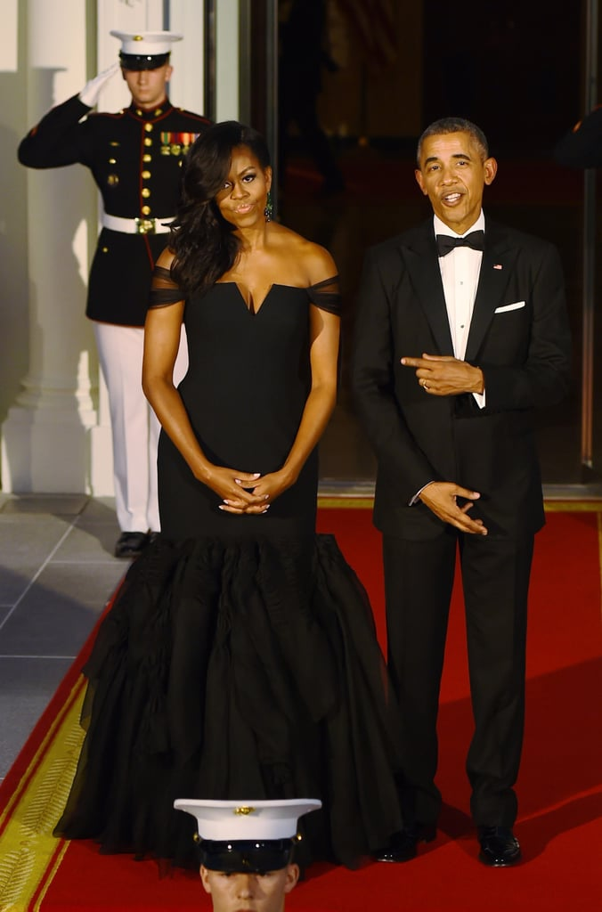 Wearing Vera Wang at a state dinner with Chinese President Xi Jinping in 2015.
