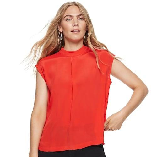 Nine West Silk Mock-Neck Cap-Sleeve Blouse