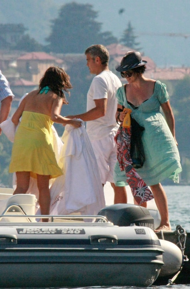 Karen Duffy visited former flame George Clooney at Lake Como in July 2009.