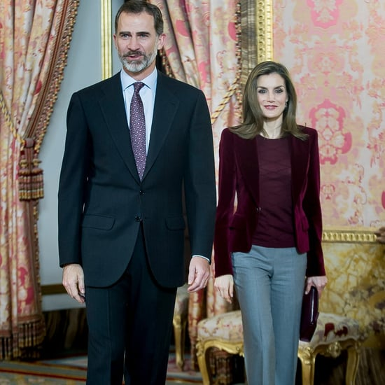 Queen Letizia Wearing a Velvet Blazer December 2016