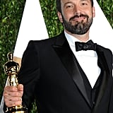 Ben Affleck gave a big smile on his way into the Vanity Fair Oscars after-party.