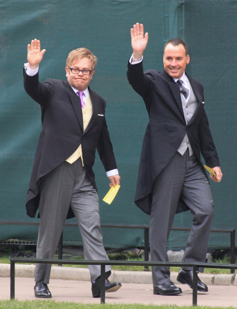 Elton John and his partner, David Furnish, arrived at Westminster Abbey for the royal wedding in London today. They joined other special guests David and Victoria Beckham, Joss Stone, and Chelsy Davy in taking their seats inside the church. The invitees are eagerly awaiting the arrival of Prince William, who will wear an Irish Guards Mounted Officer's uniform, and minutes later his bride, Kate Middleton. Elton and David are some of the lucky attendees who will witness William and Kate's nuptials take place in just an hour.