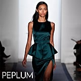 Why we love them: Peplum dresses are the epitome of femininity, without feeling overtly girlie. They cinch our waists, define our shape, and lend added interest to even our essential office sheaths. How to wear them: Styling a peplum dress is simple — the work is basically done for you. You need little else but a great pair of heels to channel a totally confident, womanly look — that's just a little flirtatious. In this photo: Peter Som Fall 2012