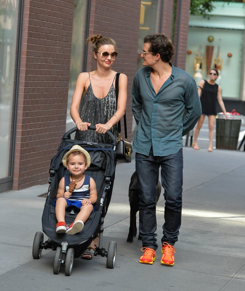 Miranda pushed Flynn in his stroller during the family outing on July 4.