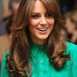 Kate debuted a beautiful blowout along with some new fringe at the opening of the Natural History Museum's Treasure Gallery in 2012.