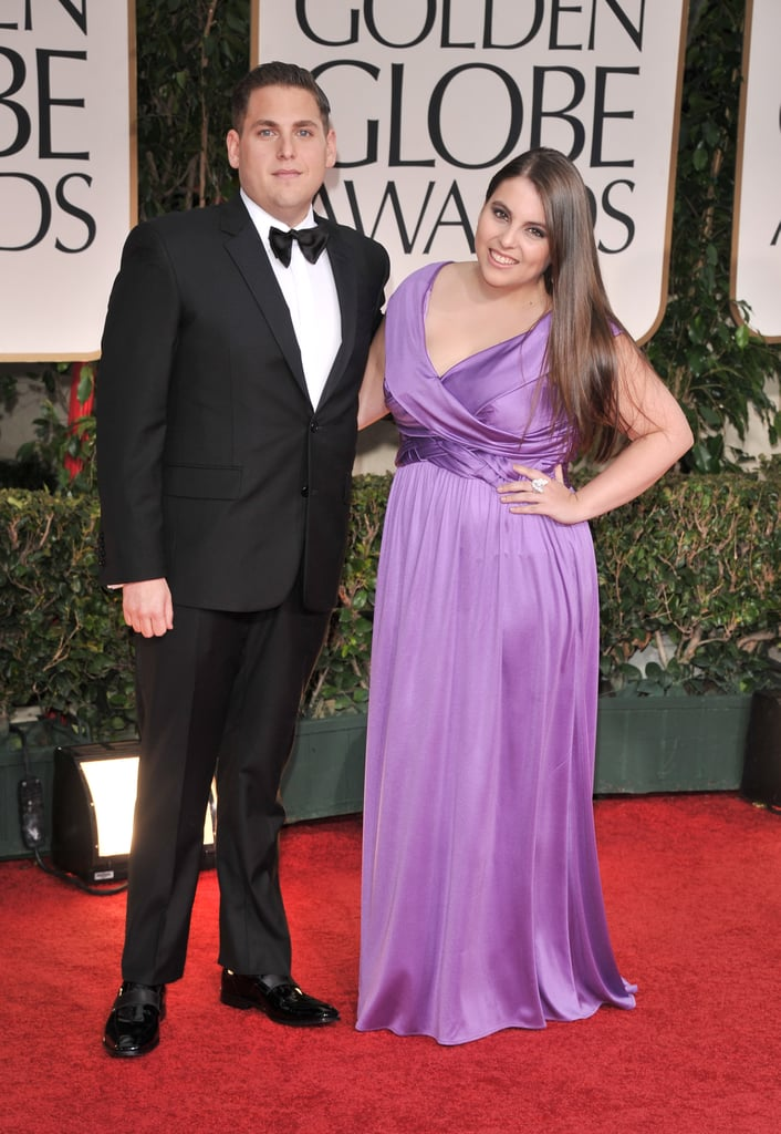 Jonah Hill and Beanie Feldstein at the 69th Annual Golden Globes in 2012