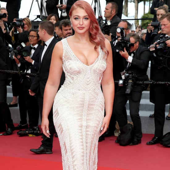 Iskra Lawrence's White Beaded Dress at Cannes 2018