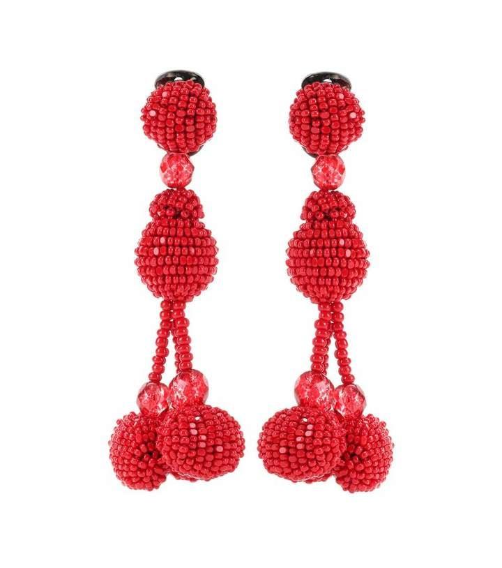 Oscar de la Renta Beaded Pom Pom Clip-On Earrings ($694)