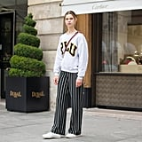 You'll Be Surprised How Cool It Looks With Striped Palazzo Pants and Sneakers
