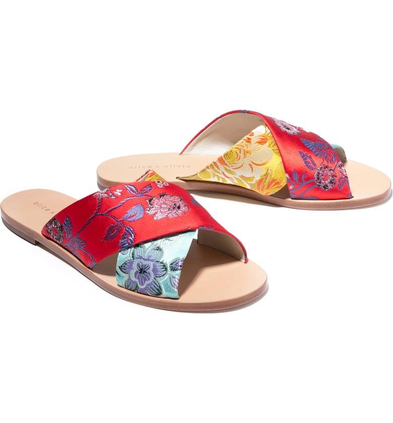 Alice + Olivia Harrieta Floral Slide Sandals