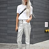 """Metallic pants feel """"chill"""" when a t-shirt and slides are part of the equation."""