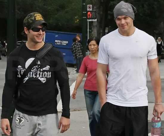 Slide Photo of Peter Facinelli and Kellan Lutz Going to The Gym In Canada
