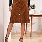 Shein Button Up Suede Skirt