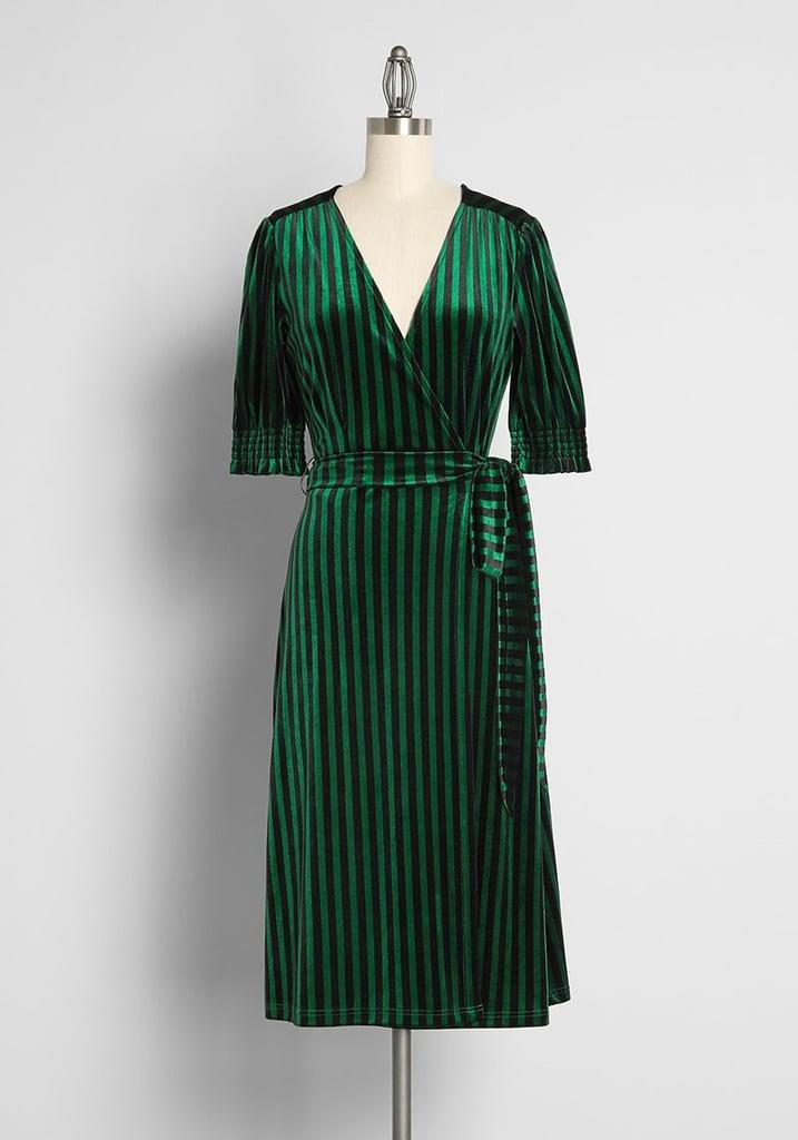 A Stunning Velvet Moment: Creepin It Real Velvet Midi Wrap Dress