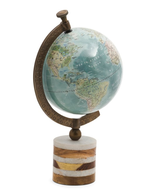 Made in India Globe on Wood and Marble Base