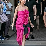 The icon wore a ruffled Miu Miu gown and jeweled ankle-strap heels. Very Carrie Bradshaw, no?