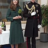 Kate Middleton and Prince William met with the Irish Guards in Aldershot, England, for St. Patrick's Day on Monday.