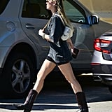 Miley Cyrus Wearing Cowboy Boots and Biker Shorts in LA