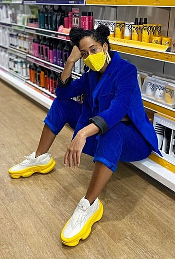 Tracee Ellis Ross's Yellow Pyer Moss Sneakers and Face Mask