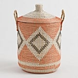 Diamond Seagrass Madison Tote Basket with Lid