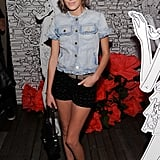 Who wears short shorts? Rocking a denim t-shirt-style jacket and minishorts at a Mulberry party during Spring '11 Fashion Week.