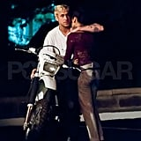 Eva Mendes and Ryan Gosling shoot The Place Beyond the Pines.