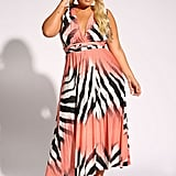 Debshops Zebra Magic Tie Maxi Dress