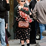 Helena Bonham Carter arrived on the set.