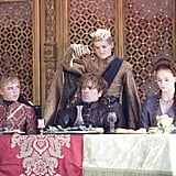 Joffrey antagonizes Tyrion, ironically with the same glass that poisons him moments later.
