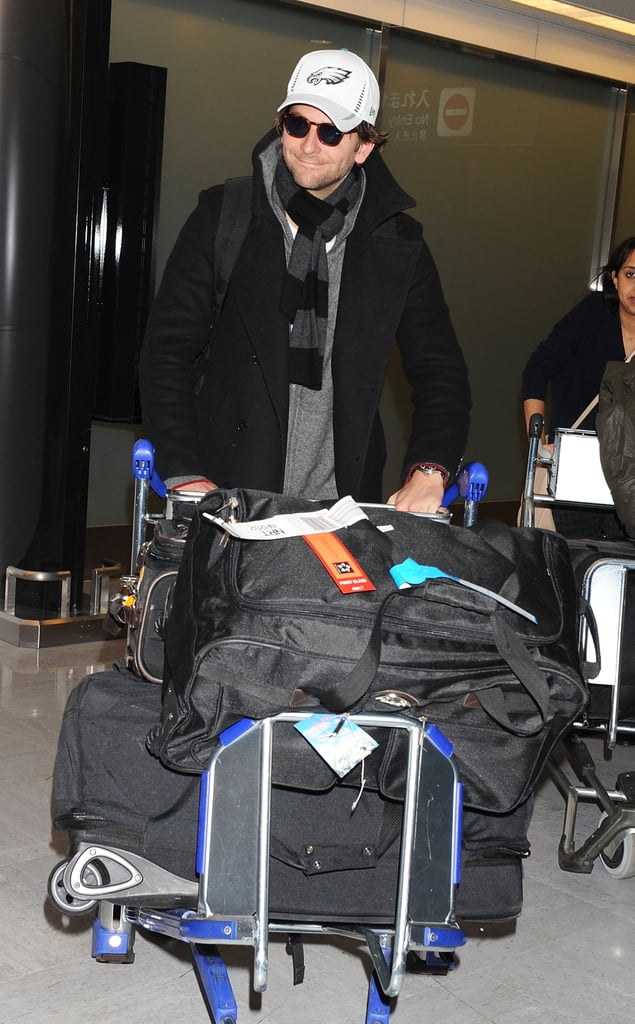 """Bradley Cooper had a smile on his face as he pushed his luggage through the airport in Narita, Japan. He's been making the rounds to promote Silver Linings Playbook overseas recently and has already attended events in Madrid, Paris, and Rome. Bradley's travels came after his big night out at the Golden Globes earlier this month. Although he didn't take home a trophy at the Globes, he has February to look forward to since he scored a best actor nomination at the Academy Awards. In addition to the excitement surrounding Bradley's Silver Linings Playbook this award season, he may have his sights set on a new project. Bradley volunteered himself to play Lance Armstrong after rumors swirled last week about an upcoming biopic featuring the cyclist. Bradley revealed his interest in the role of Lance, saying, """"I think he's fascinating. What a fascinating character."""""""