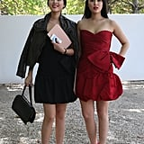 These two decided to go glam, bringing cocktail dresses and serious heels to the shows.