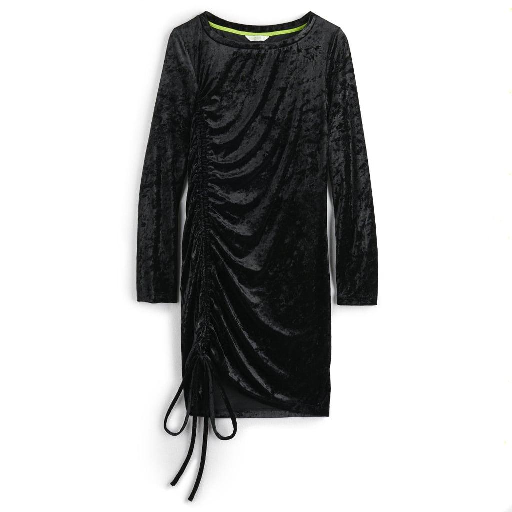 Vylette Panne Velvet Ruched Side Dress