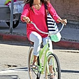 Alessandra Ambrosio hopped on a beach cruiser.
