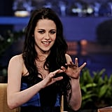 Kristen Stewart was very gestural on the set of The Tonight Show.