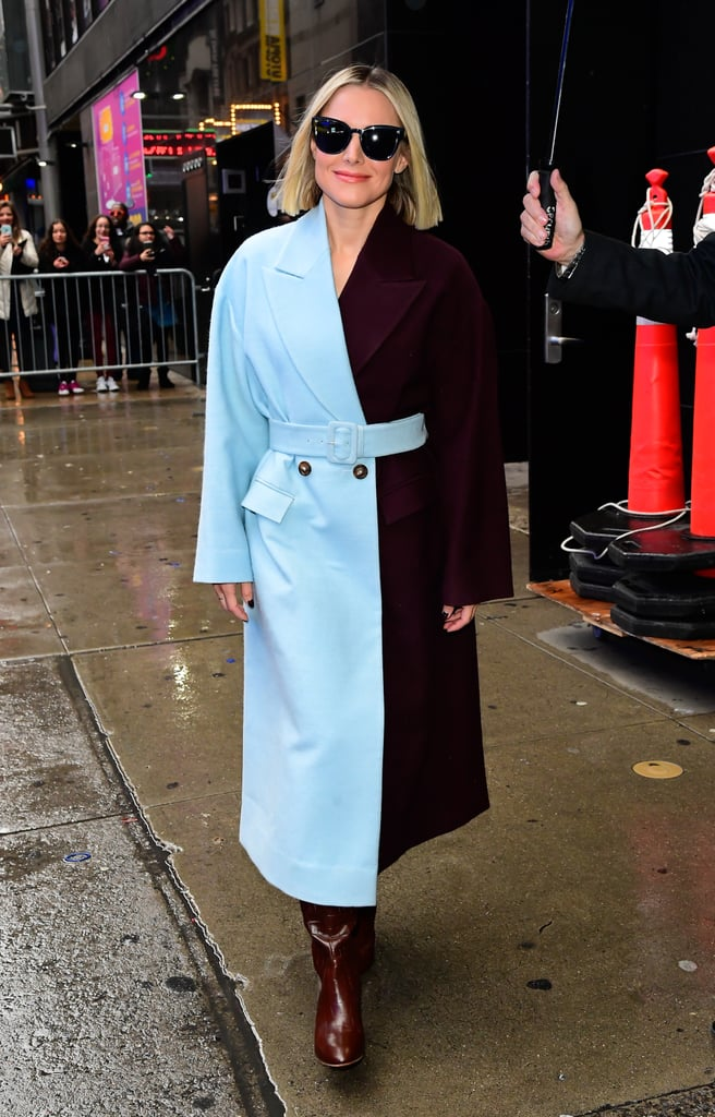 Kristen Bell Wearing a Two-Toned Coat in NYC