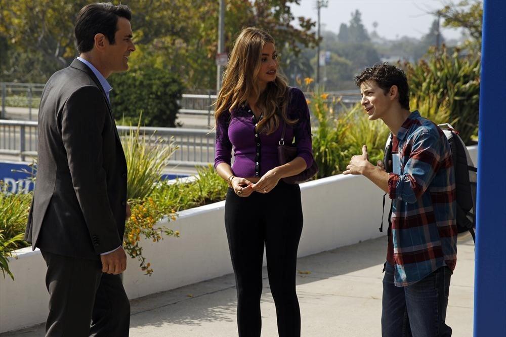 Modern Family Ty Burrell, Sofia Vergara, and Caleb Thomas on the season premiere of Modern Family.