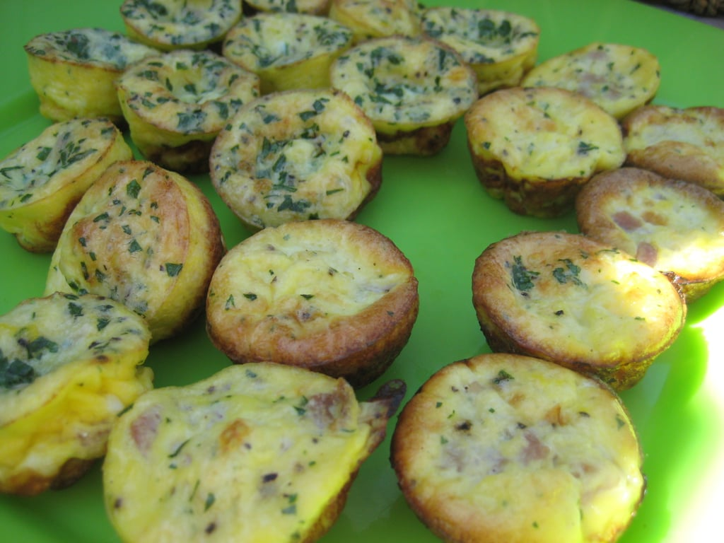 Select a balanced — sweet and savory, hot and cold — menu of items that can be made ahead.  For sweets I offered guests yogurt strawberry parfaits and blueberry muffins. For savory I made mini frittatas and mini bagel sandwiches.