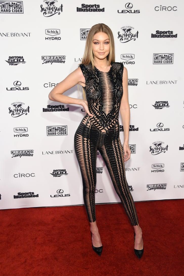 Gigi Hadid Sheer Black Jumpsuit At Sports Illustrated