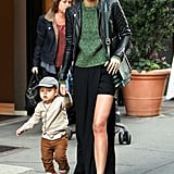 At it again, Miranda Kerr styled up a slit maxi with a cool-girl, daytime twist.